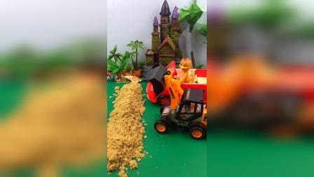 鸡妈妈送朵朵上医院,沙子堵住了鸡妈妈的路,小铲车帮忙铲走沙子