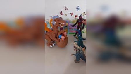 乔治佩奇找大飞龙帮忙,怪兽来了恐龙也叫出兄弟们!