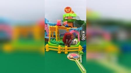 乔治佩奇来游乐场玩,怪兽抢了小猪的糖果,奥特曼来教训怪兽