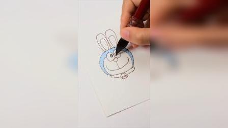 戴兔耳朵的哆啦A梦水彩上色