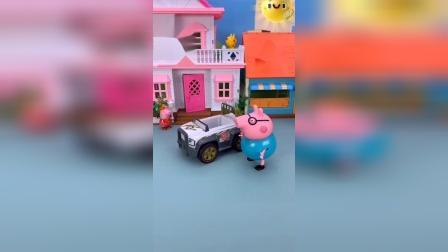 猪爸爸准备开车出去玩,怎么自己的肚子这么大,车子都进不去啊!