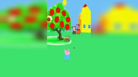 院子里面的苹果熟了,猪爸爸摘了好几个苹果