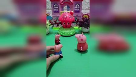 小猪佩奇乔治要玩跷跷板,不料跷跷板太大