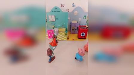 小猪佩奇乔治去找葫芦娃,葫芦娃以为佩奇乔治来做客,拿出好吃的