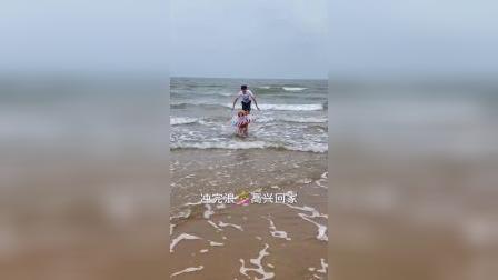 海边冲浪的大金毛