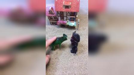 怪兽和恐龙先生吵架了,包警长前来劝解,怪兽和恐龙回家了