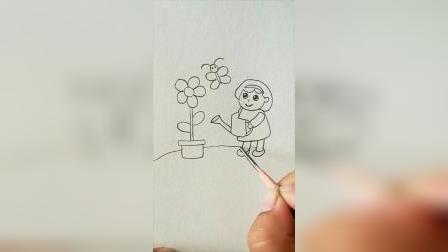 小高简笔画教程:画个浇花的小姑娘