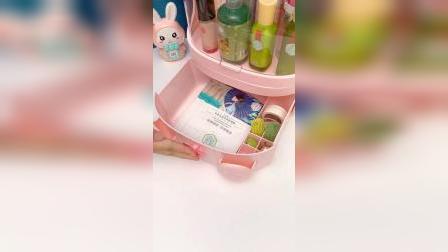 开箱:化妆品收纳盒一定要选个带防尘盖的,颜值又高容量还大