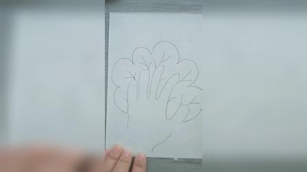 小高简笔画教程:用手掌画大树,快来看看像不像