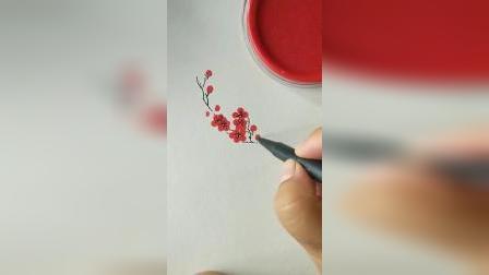 小高简笔画教程:教你用印泥画梅花