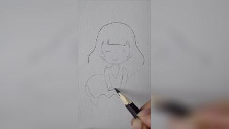 小高简笔画教程:教你画脸圆圆的姑娘