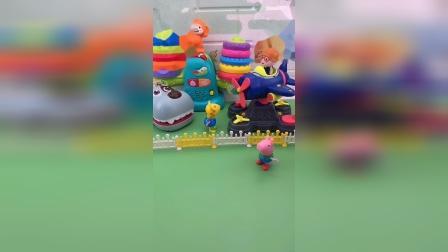 乔治来到了游乐场,小朋友们也来玩,乔治让小朋友说暗号