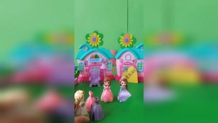 艾莎把一样颜色的裙子分给公主们