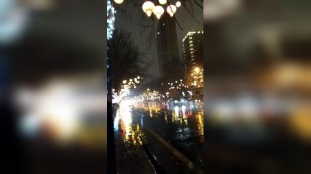 观灯歌—— 疫情过后来过年,畅享欢快尽情玩。天空飘飞毛毛雨,伫立路边把灯观。大道畅通灯不少,绿城夜晚真灿烂。人民安康国富强,欢乐时光只嫌短!
