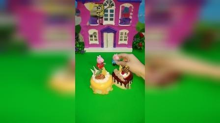 乔治佩奇都有蛋糕,猜猜谁的更好吃