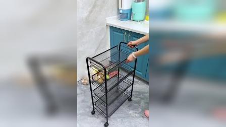 这个超实用的小推车置物架,厨房、卧室、卫生间放哪都合适