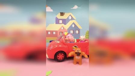 熊二开走乔治的车,乔治走着去上学