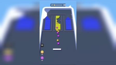 小游戏:小球怎么卡在上面了,还会弹下来吗?