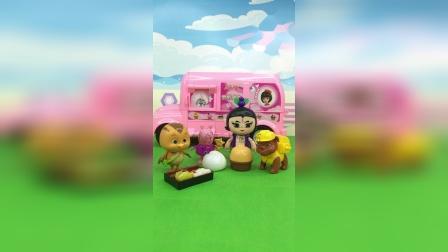 葫芦娃佩奇去野餐,小力什么都不带还吃得好