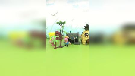 佩奇乔治怎么在森林里,遇到恐龙了,原来是做噩梦呀