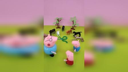 猪爸爸带佩奇和乔治去动物园玩