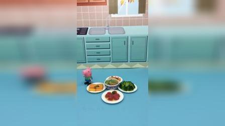 猪妈妈在午睡,乔治觉得妈妈上班太累,便主动给妈妈做午饭吃