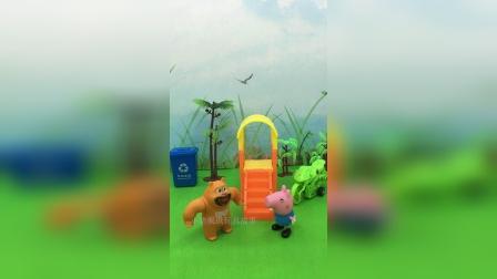 熊二和乔治在游乐场玩饿了,熊二要吃小龙虾,让乔治去买