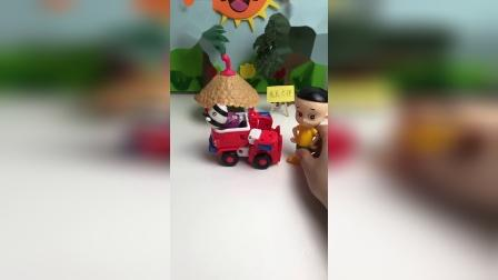 斑马在玩车子,谁来跟它借车子呢?