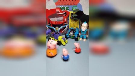 猪妈妈不给乔治买玩具,佩奇把乔治送给小头爸爸,小孩玩笑开不得