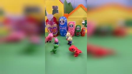 乔治在玩恐龙,理查德也有恐龙玩具,乔治和理查德不喜欢分享玩具