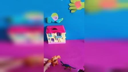 少儿益智:熊大熊二看到恐龙模型