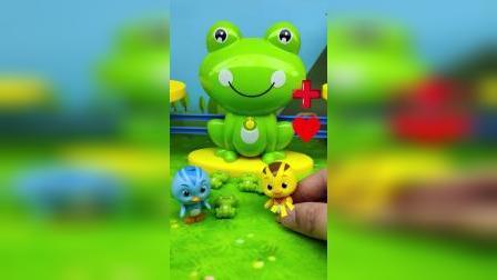 欢欢崔麦琪快走,后面有怪兽在追他们,他们变成了小青蛙的样子