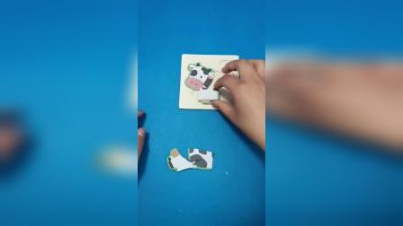 益智玩具:小奶牛拼图玩具真好玩