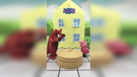 怪兽抓了佩奇乔治,猪妈妈打倒了怪兽救回了他们