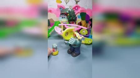 巨人僵尸拿走游乐场的玩具,小鬼来教育巨人僵尸