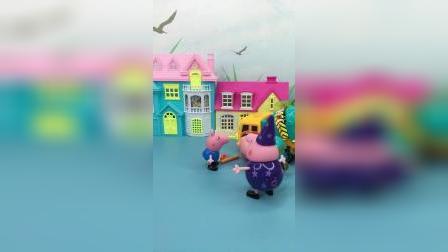 猪爸爸在修车,被乔治误会成小偷了