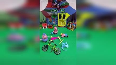 猪妈妈把乔治和玩具都扔了,乔治找猪奶奶告状,辛亏猪爷爷明智