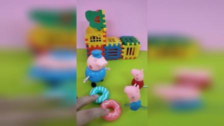 佩奇和乔治吃到了猪爷爷买的甜甜圈