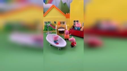 猪妈妈给乔治洗澡,乔治不和佩奇一起分享,猪妈妈给佩奇摇糖果