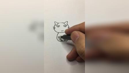 这只猫咪是不是心情不好#简笔画