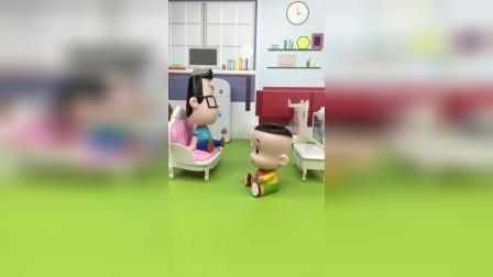 大头告诉小头爸爸,他想钻进电视里,吃零食