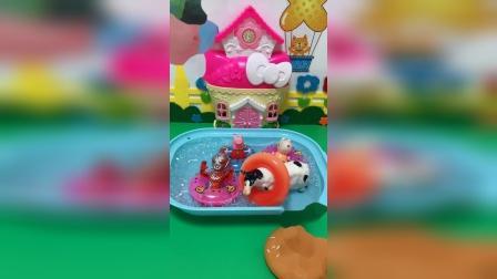 益智玩具:佩奇和奥特曼带着游泳圈去游泳啦,僵尸的游泳圈太小了