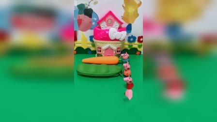 益智玩具:给佩奇一家发礼物盒,打开看看里面有什么吧