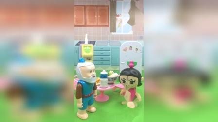 葫芦娃帮助爷爷做早饭,太懂事了