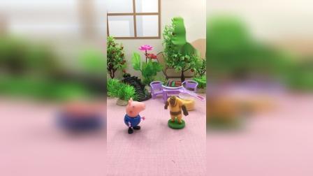 乔治看到熊二在偷吃蜂蜜,乔治要去告诉熊大