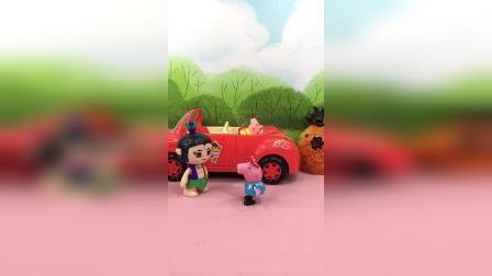 怪兽快要来了,葫芦娃哥哥带着乔治佩奇上车,差点就被追上了