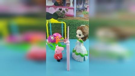 贝尔想去游乐场玩,为什么佩奇没有给她开门呢