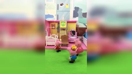 乔治和佩奇在家吵架,妈妈下班回到家后把他两教育了一番,最后都乖乖的了