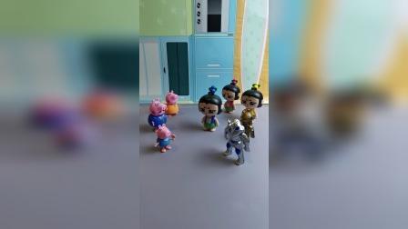 葫芦娃去乔治家做客,把怪兽也带去了