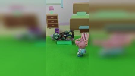 僵尸来乔治家住,佩奇让他睡奥特曼卡片床